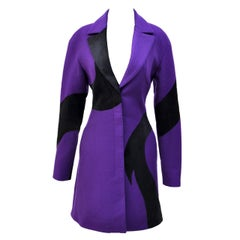 New VERSACE Purple Wool Coat With Leather