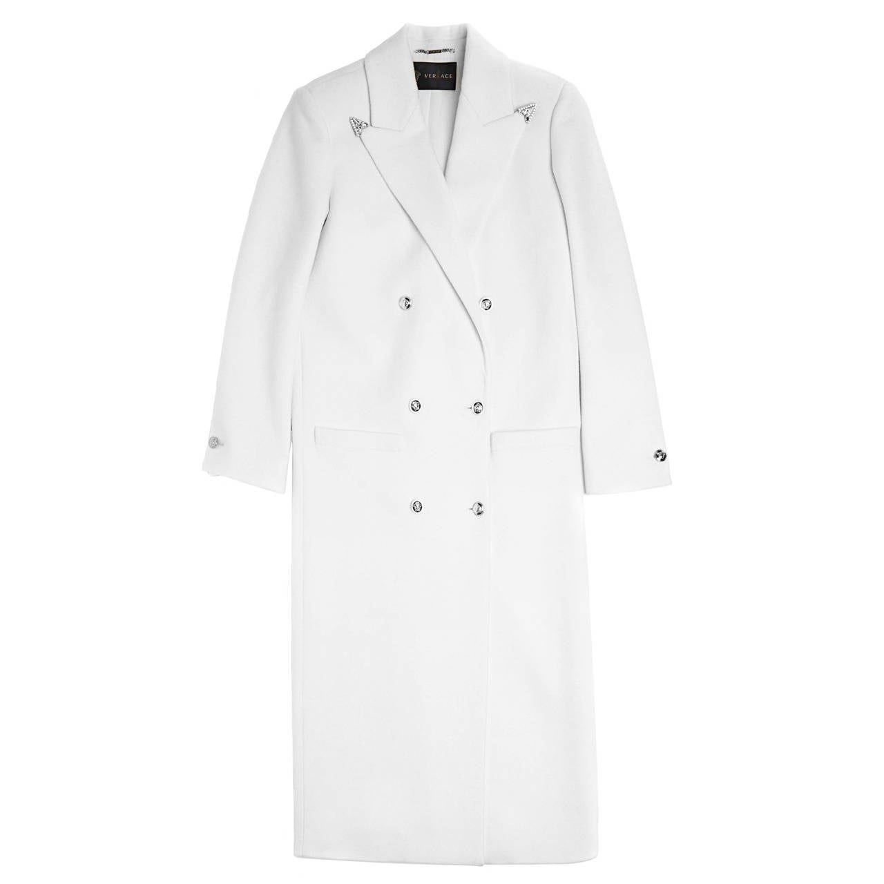 New VERSACE White Long Wool Cashmere Coat at 1stdibs