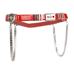 Versace Red Leather Belt with Chains