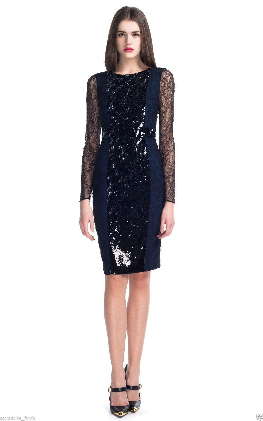 New VERSACE Sequin Embroidered Lace Cocktail Dress In New never worn Condition For Sale In Montgomery, TX