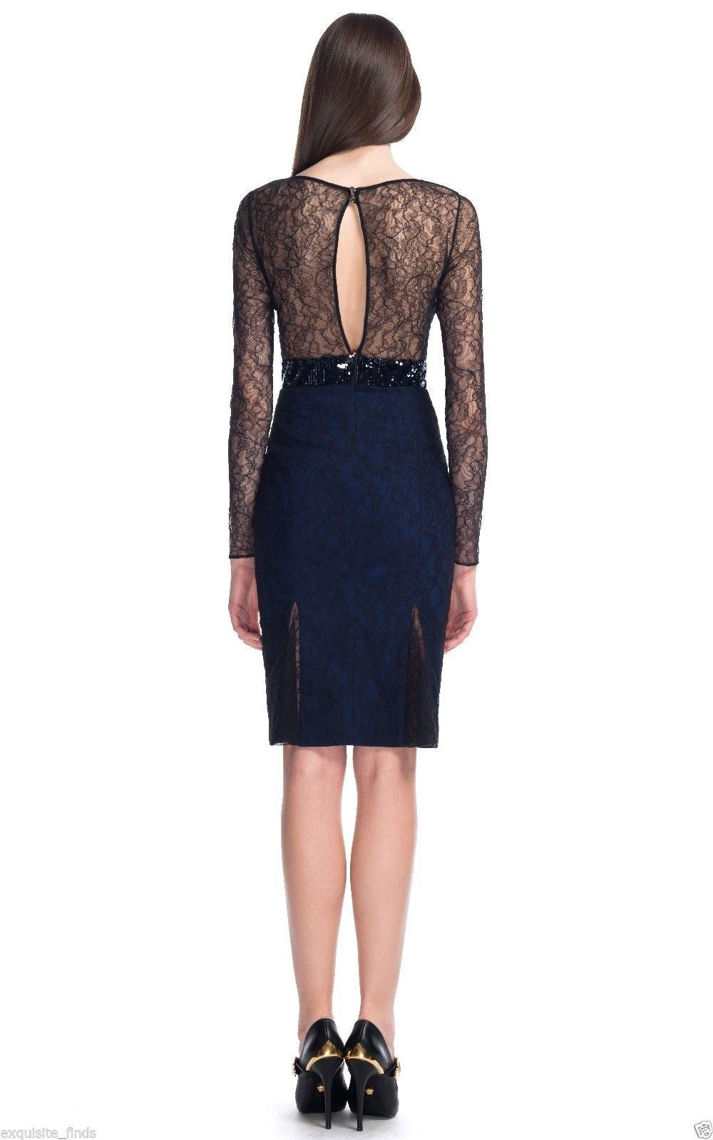 New VERSACE Sequin Embroidered Lace Cocktail Dress For Sale 1