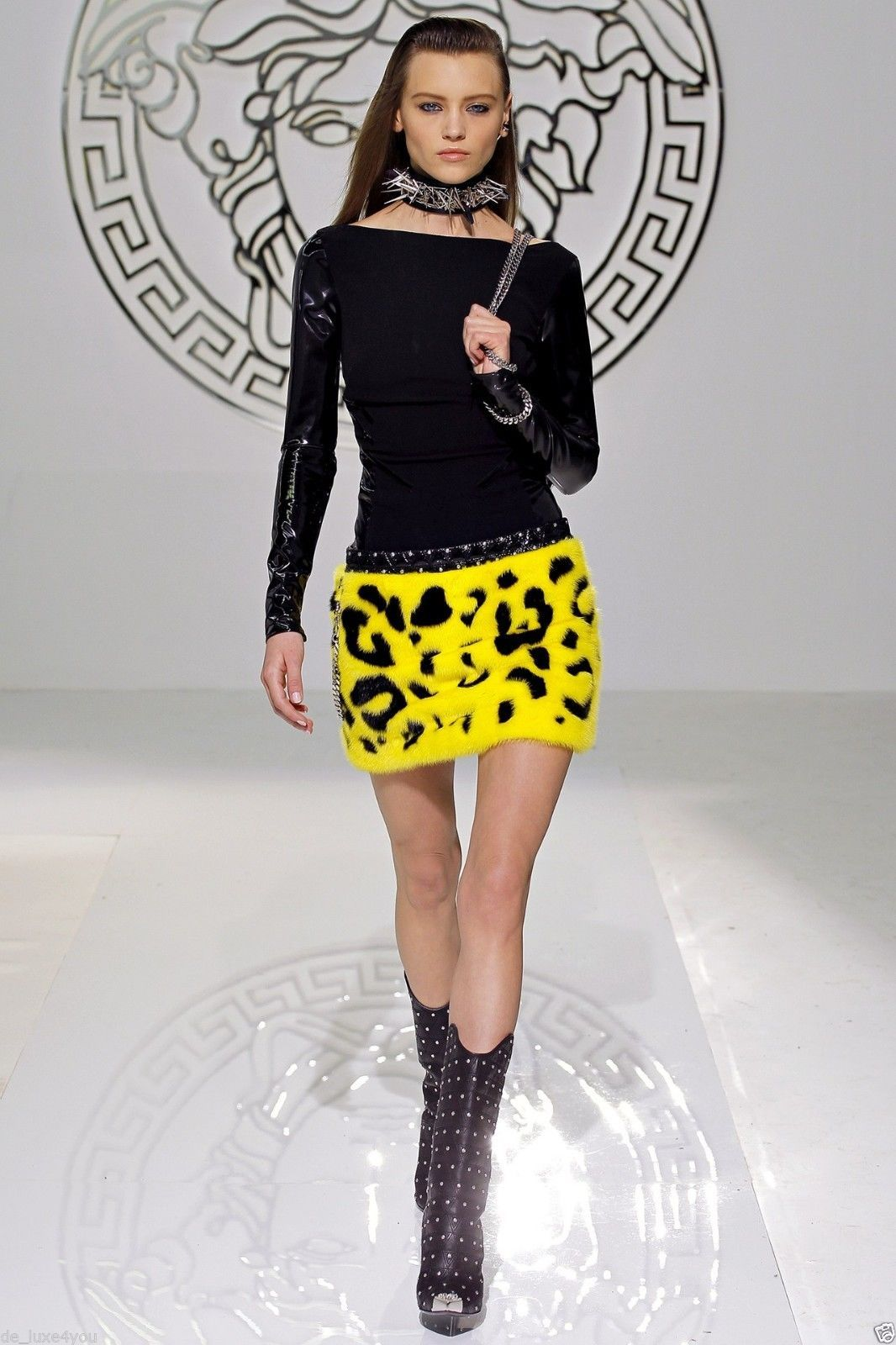 New VERSACE YELLOW BLACK MINK FUR & PATENT LEATHER SKIRT 2