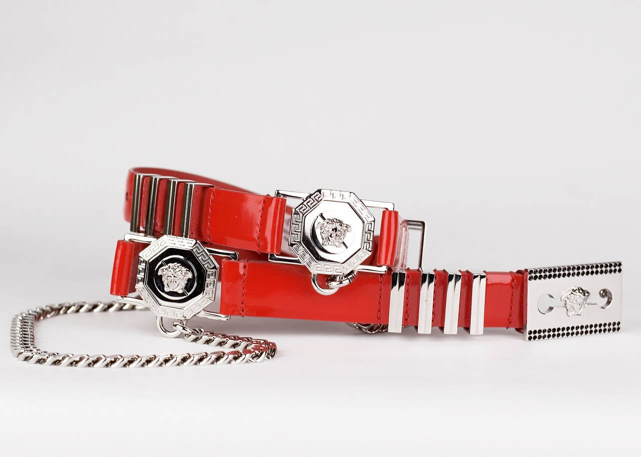 Versace Red Leather Belt with Chains In New Condition For Sale In Montgomery, TX