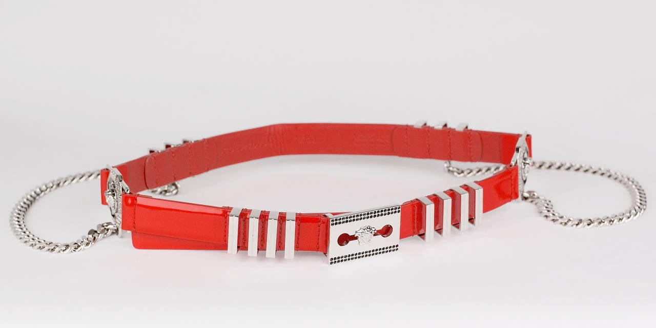 Pink Versace Red Leather Belt with Chains For Sale