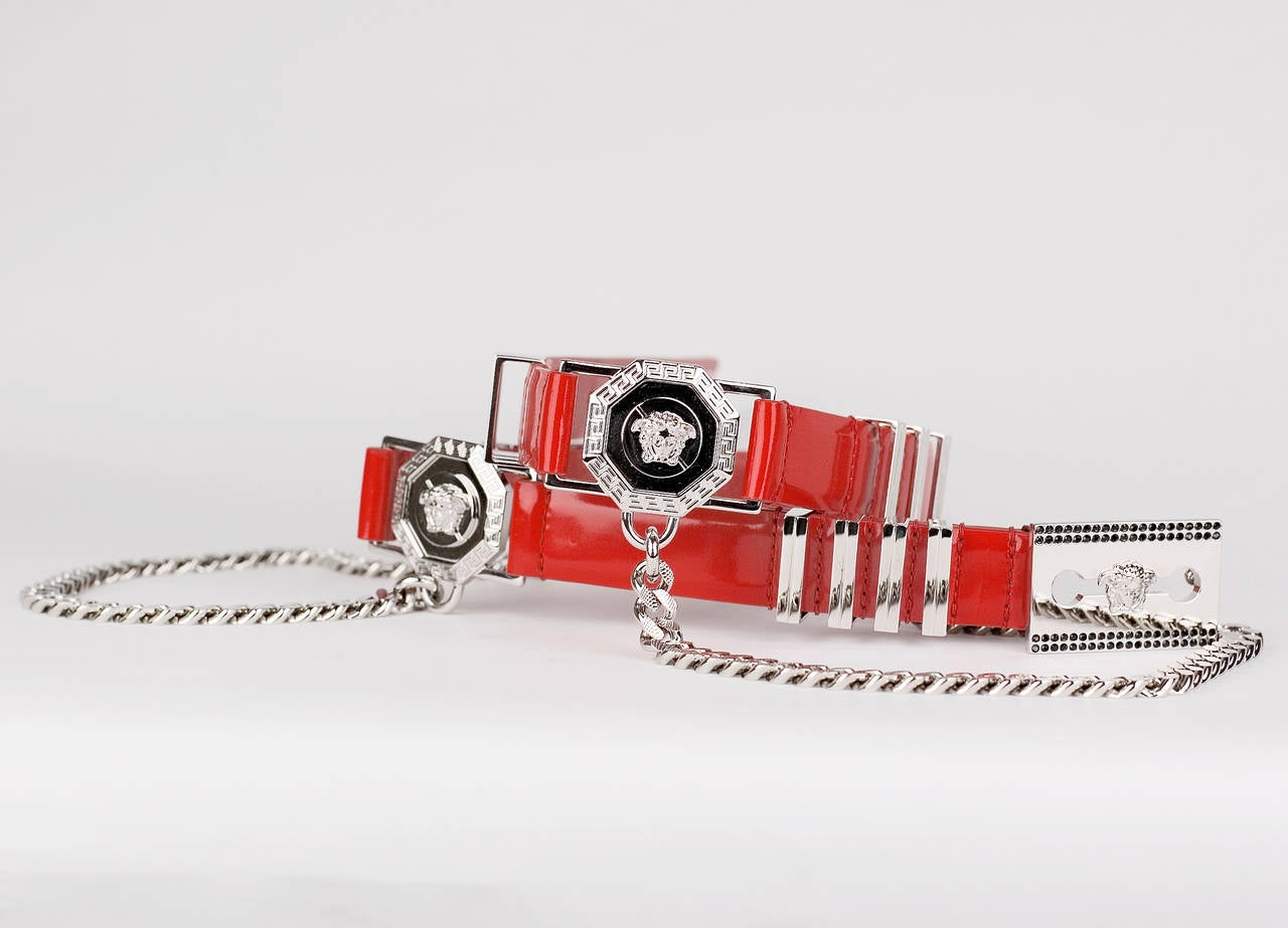 Versace Red Leather Belt with Chains  Size 75/30