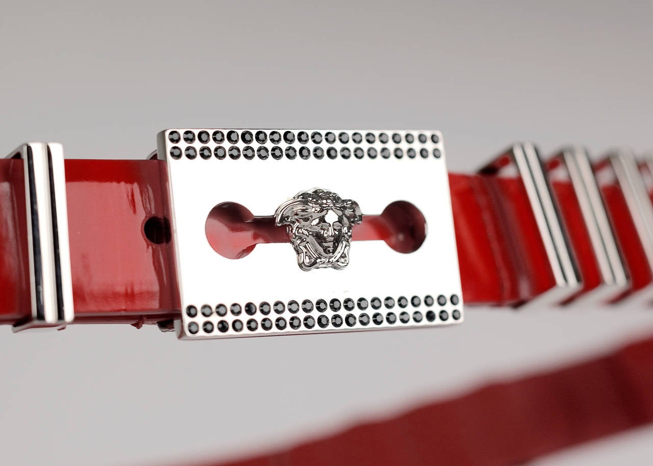 Women's Versace Red Leather Belt with Chains For Sale