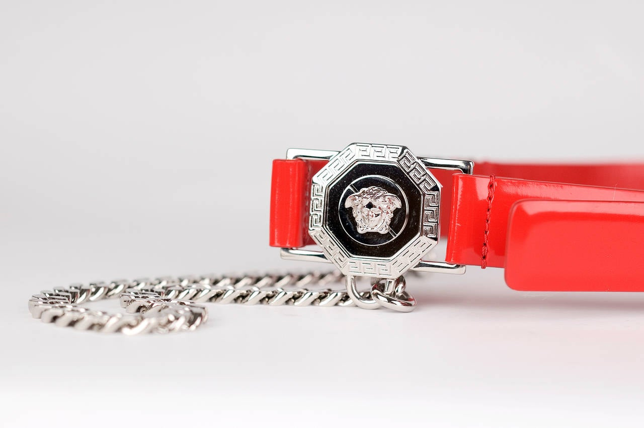 Versace Red Leather Belt with Chains For Sale 2