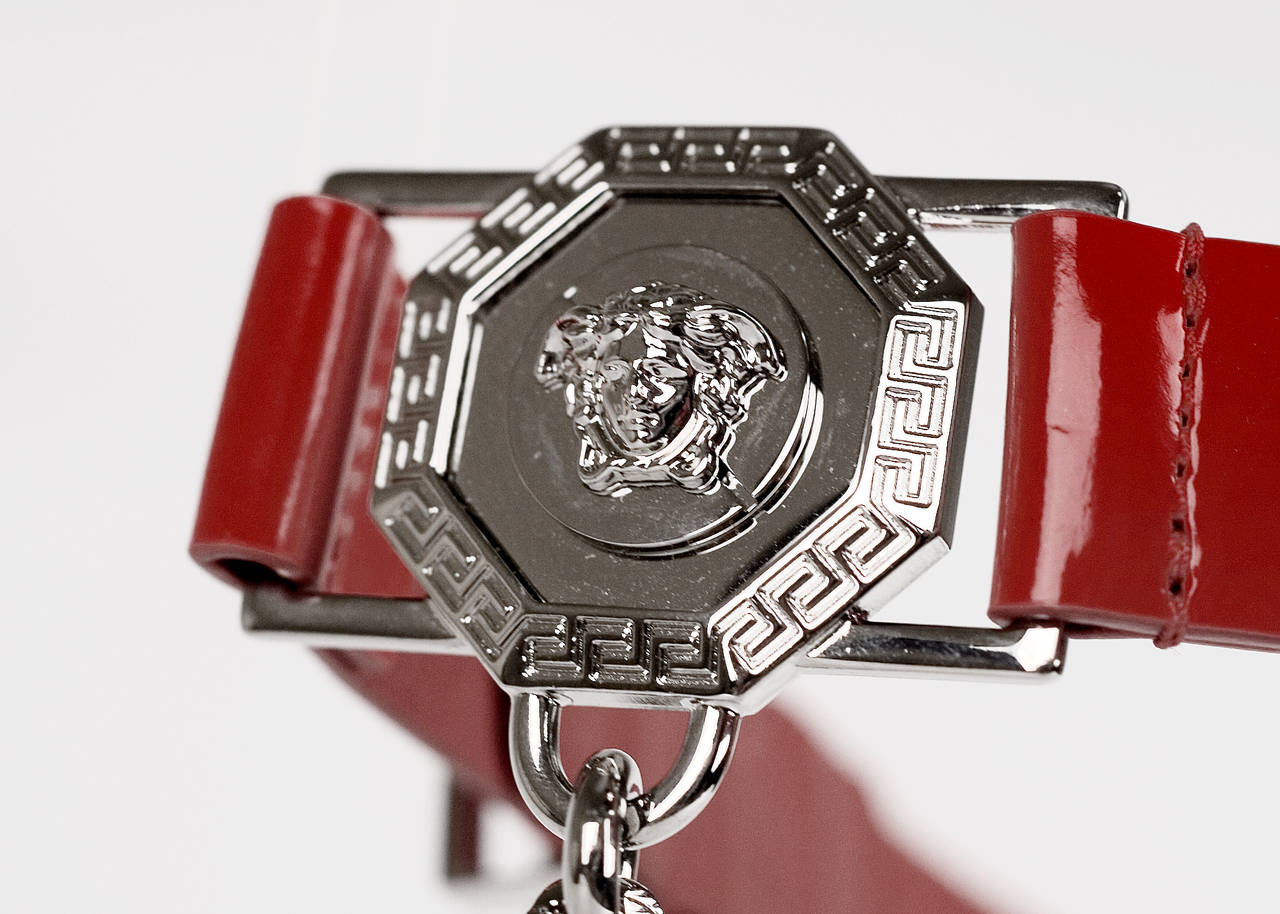 Versace Red Leather Belt with Chains For Sale 3