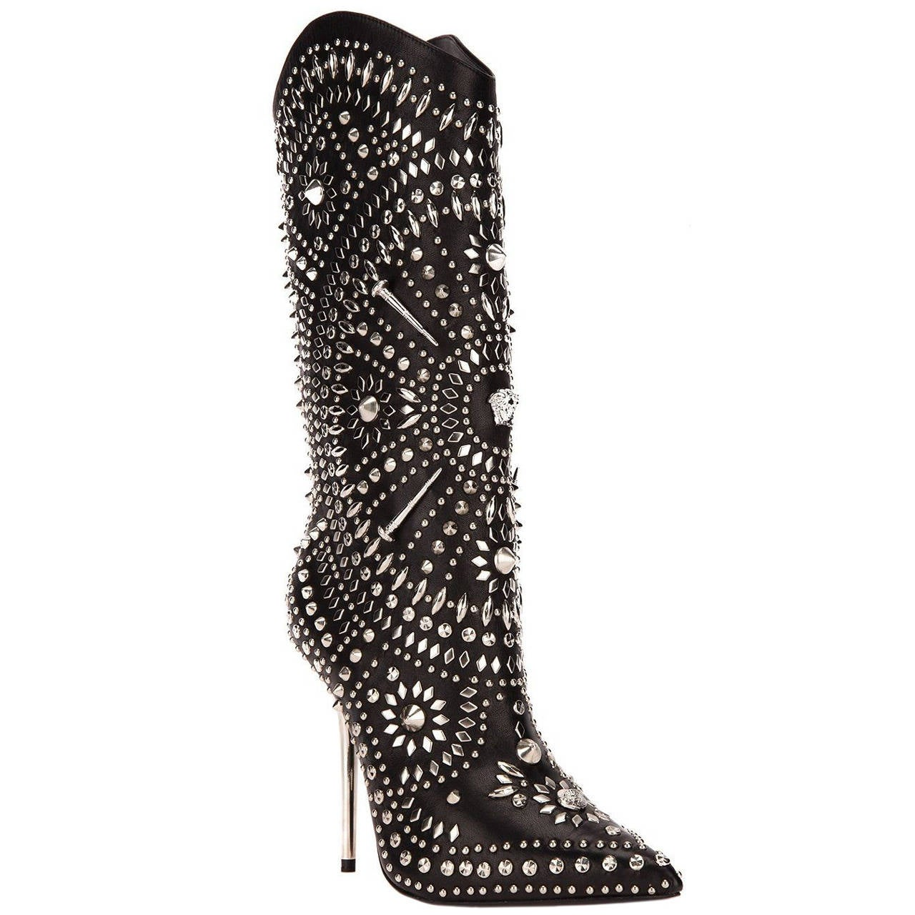 New Versace Black Leather Studded Western Stiletto Boots