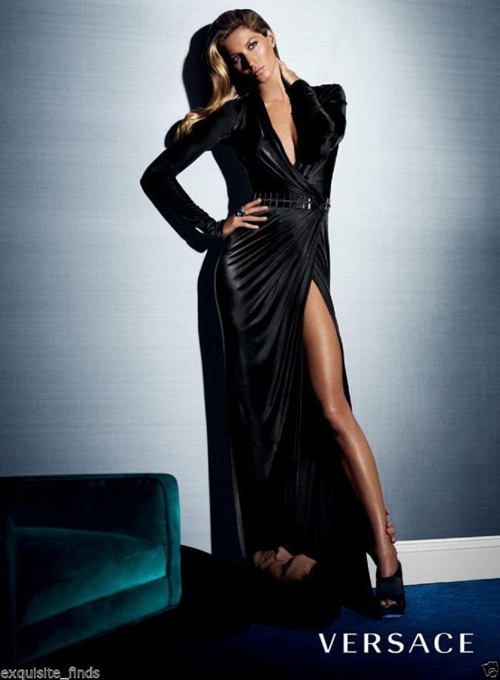 New VERSACE BLACK WRAP DRESS 7