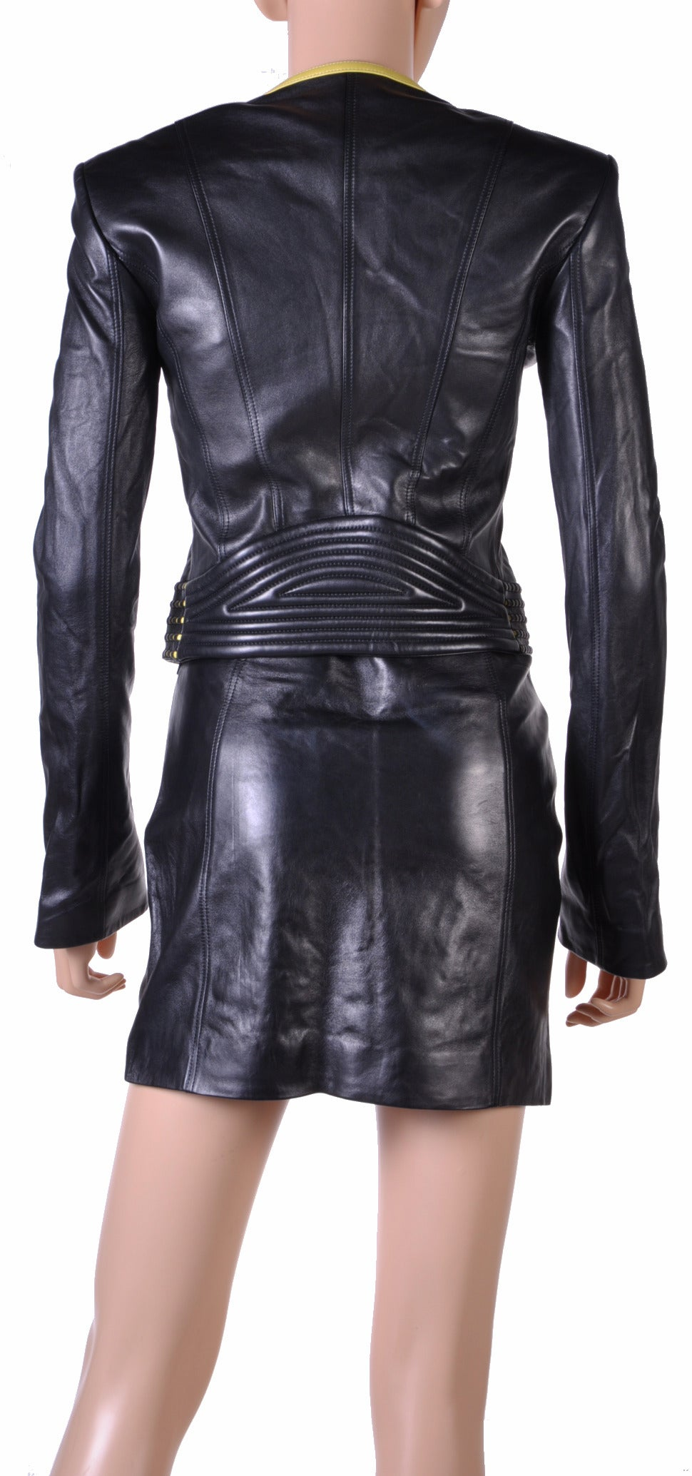 new versace leather jacket and skirt suit at 1stdibs