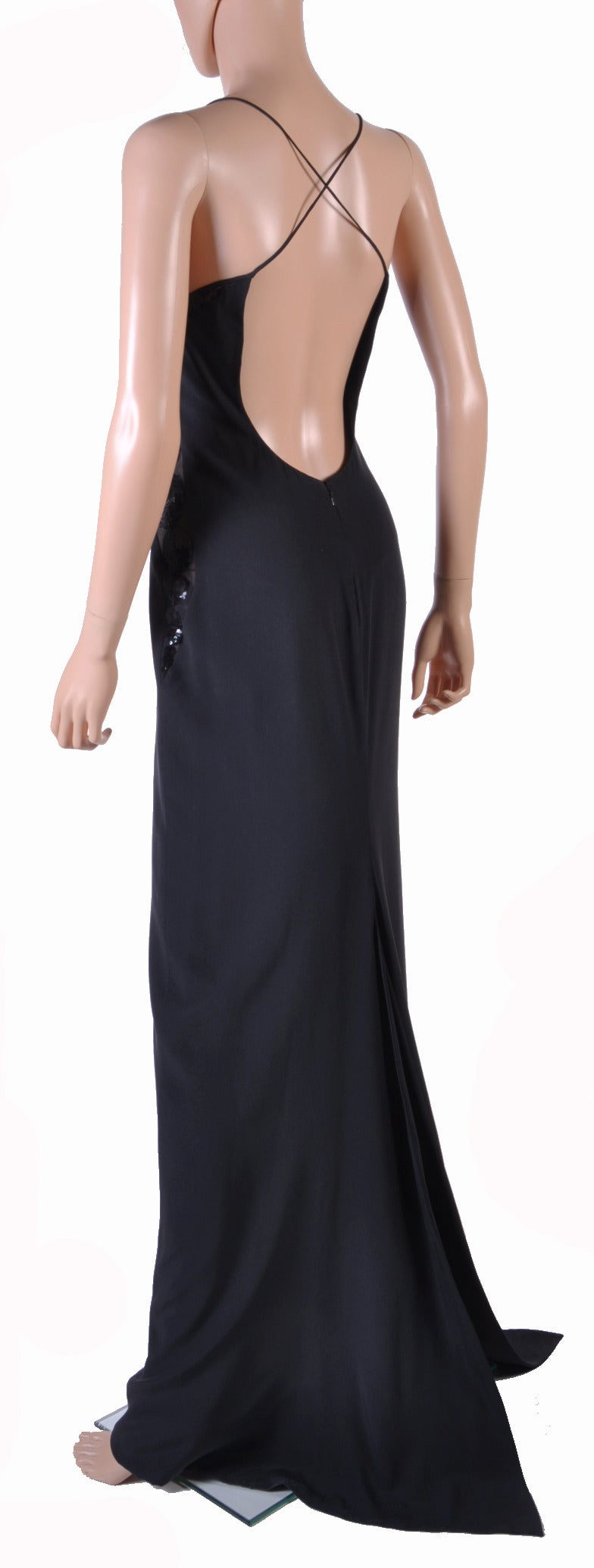 New Versace black embellished gown 6