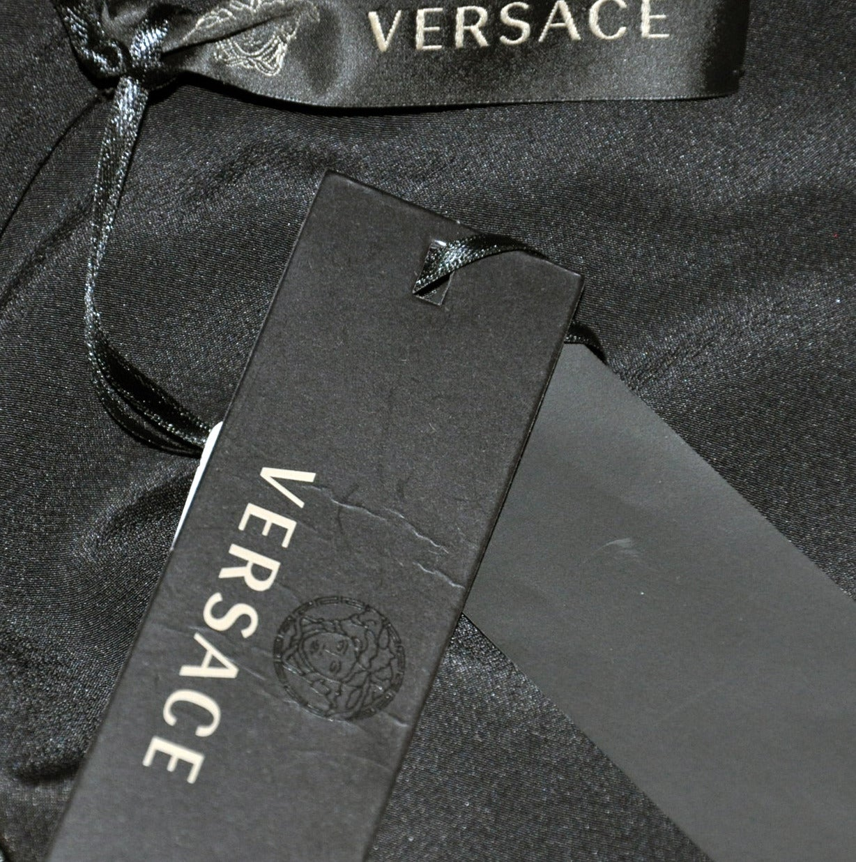 New Versace black embellished gown 7
