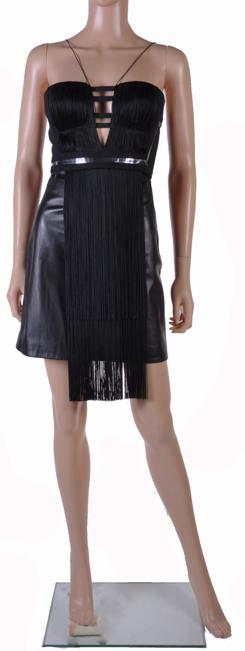 New Versace Black Silk Fringe Top and Leather Skirt 3