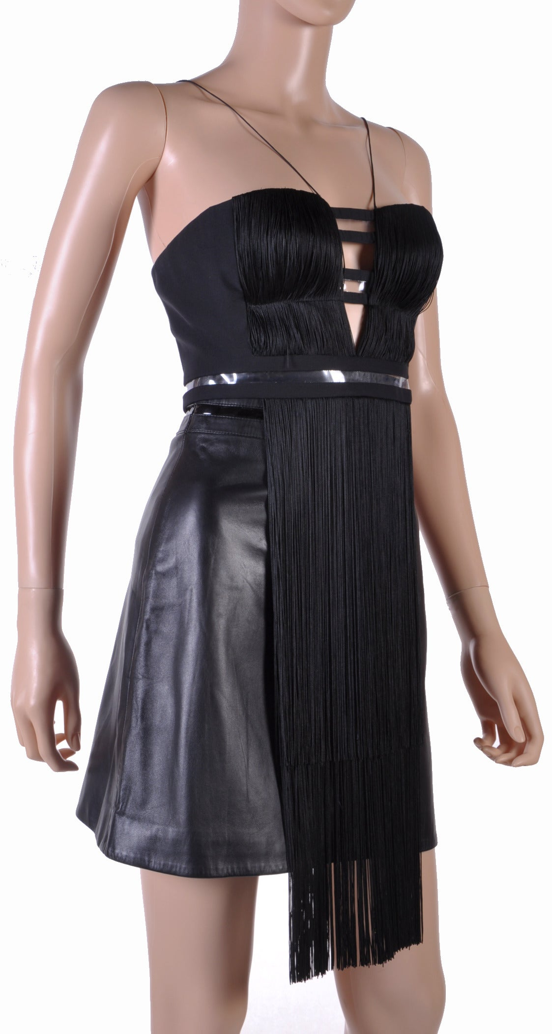 New Versace Black Silk Fringe Top and Leather Skirt 2