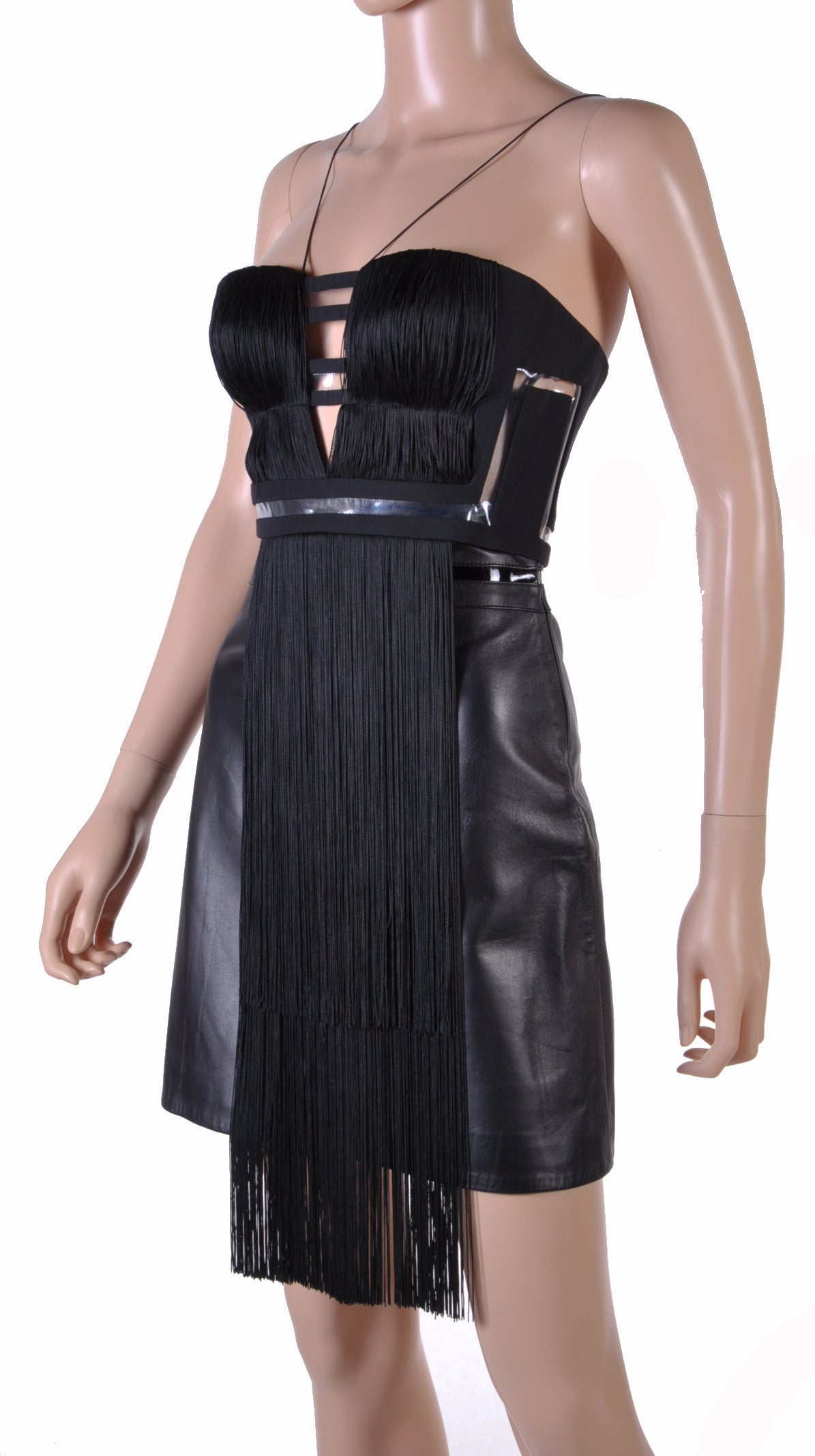 New Versace Black Silk Fringe Top and Leather Skirt 5