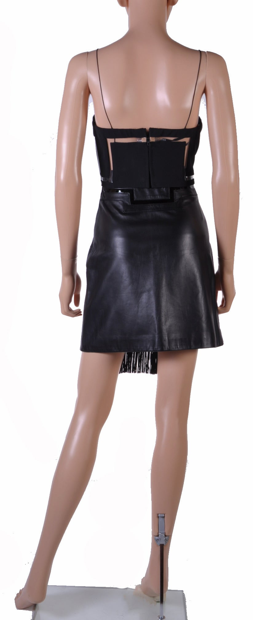 New Versace Black Silk Fringe Top and Leather Skirt 7