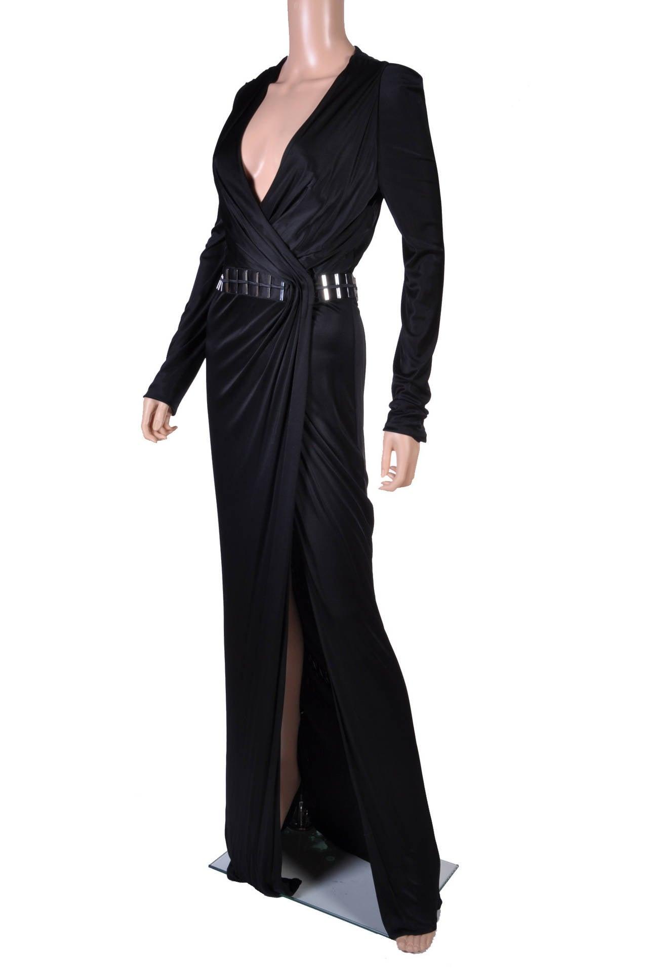 New VERSACE BLACK WRAP DRESS 3