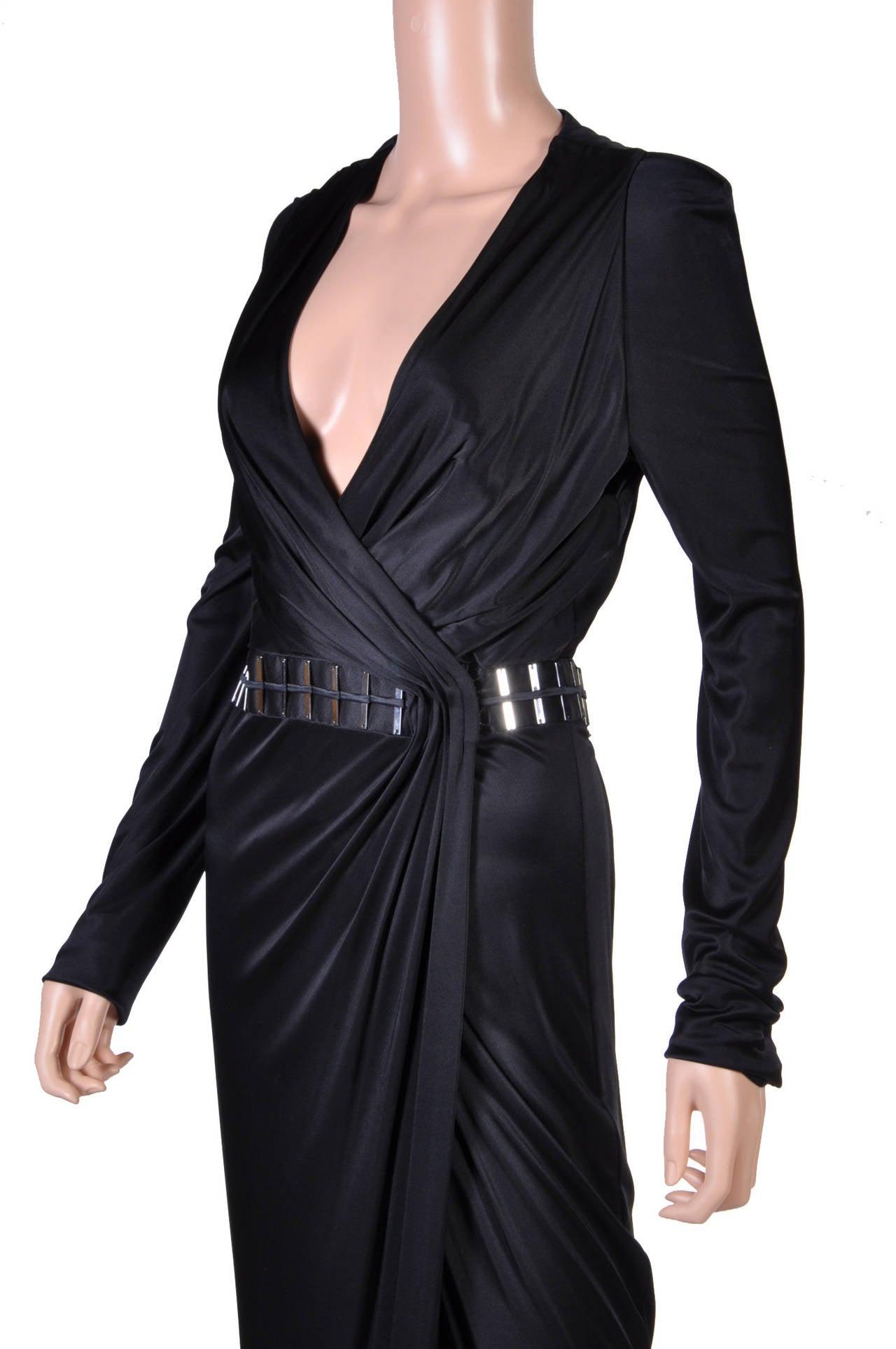 New VERSACE BLACK WRAP DRESS 4