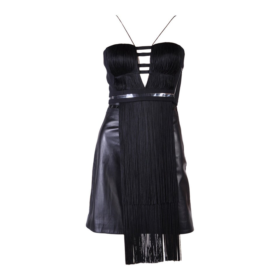 New Versace Black Silk Fringe Top and Leather Skirt 1