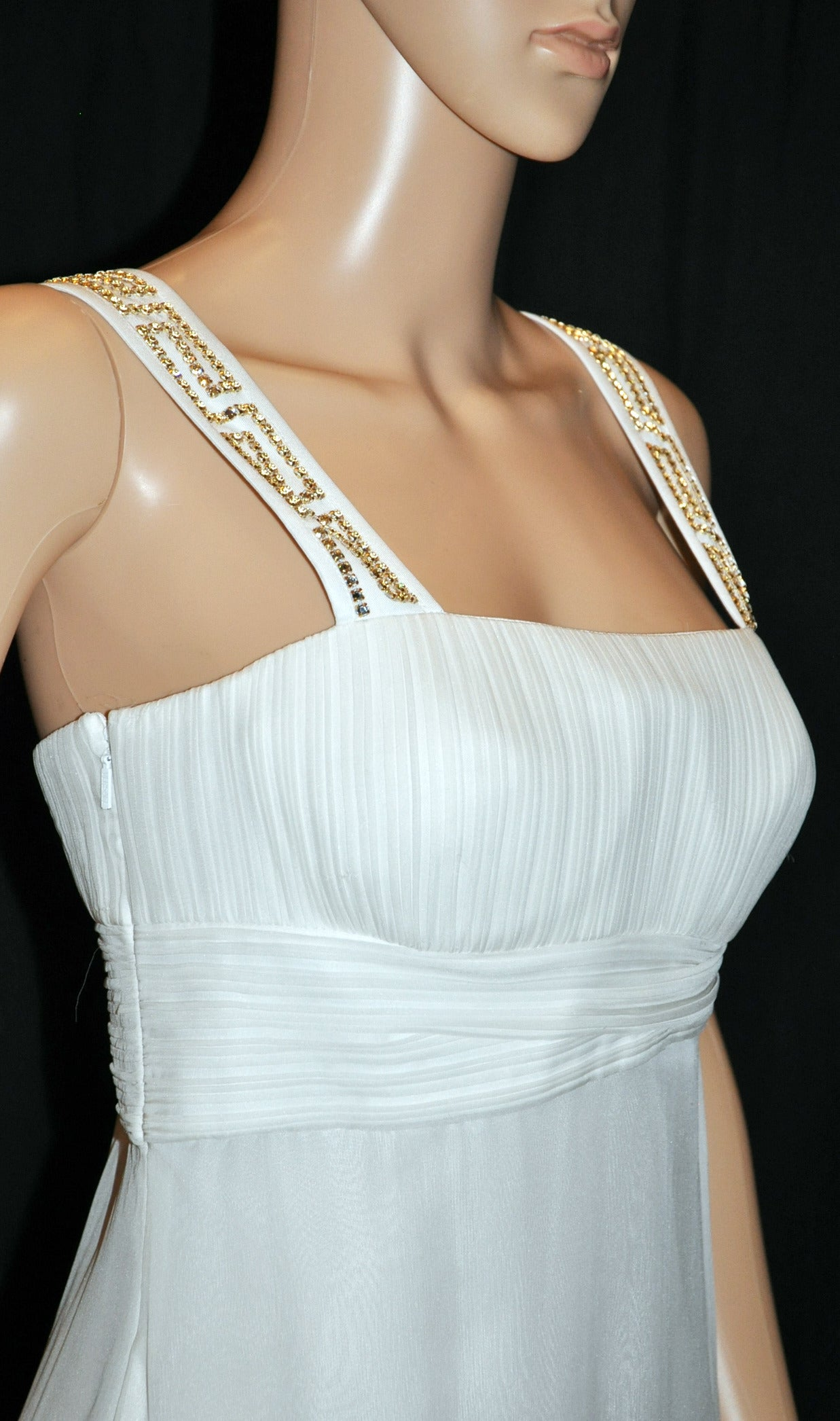 New Versace Crystal Embellished White Silk Gown 4