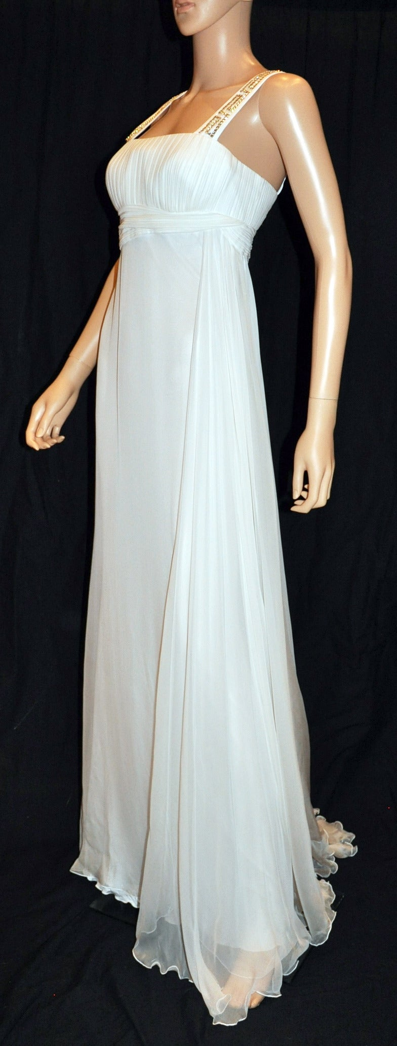 New Versace Crystal Embellished White Silk Gown 5