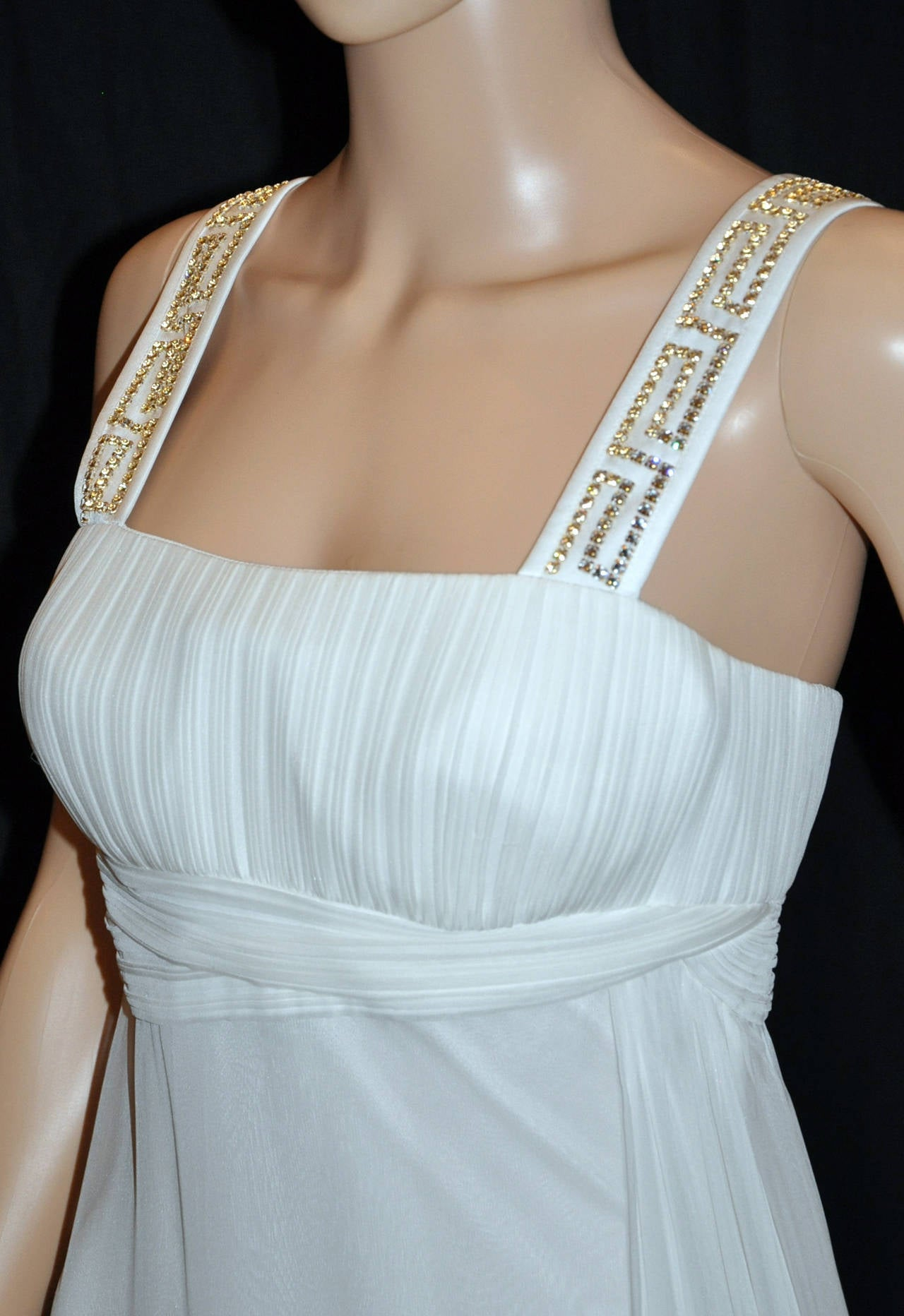New Versace Crystal Embellished White Silk Gown 6