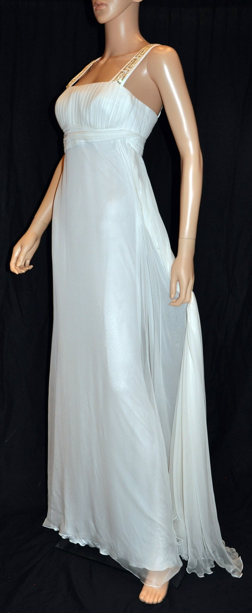 New Versace Crystal Embellished White Silk Gown 3