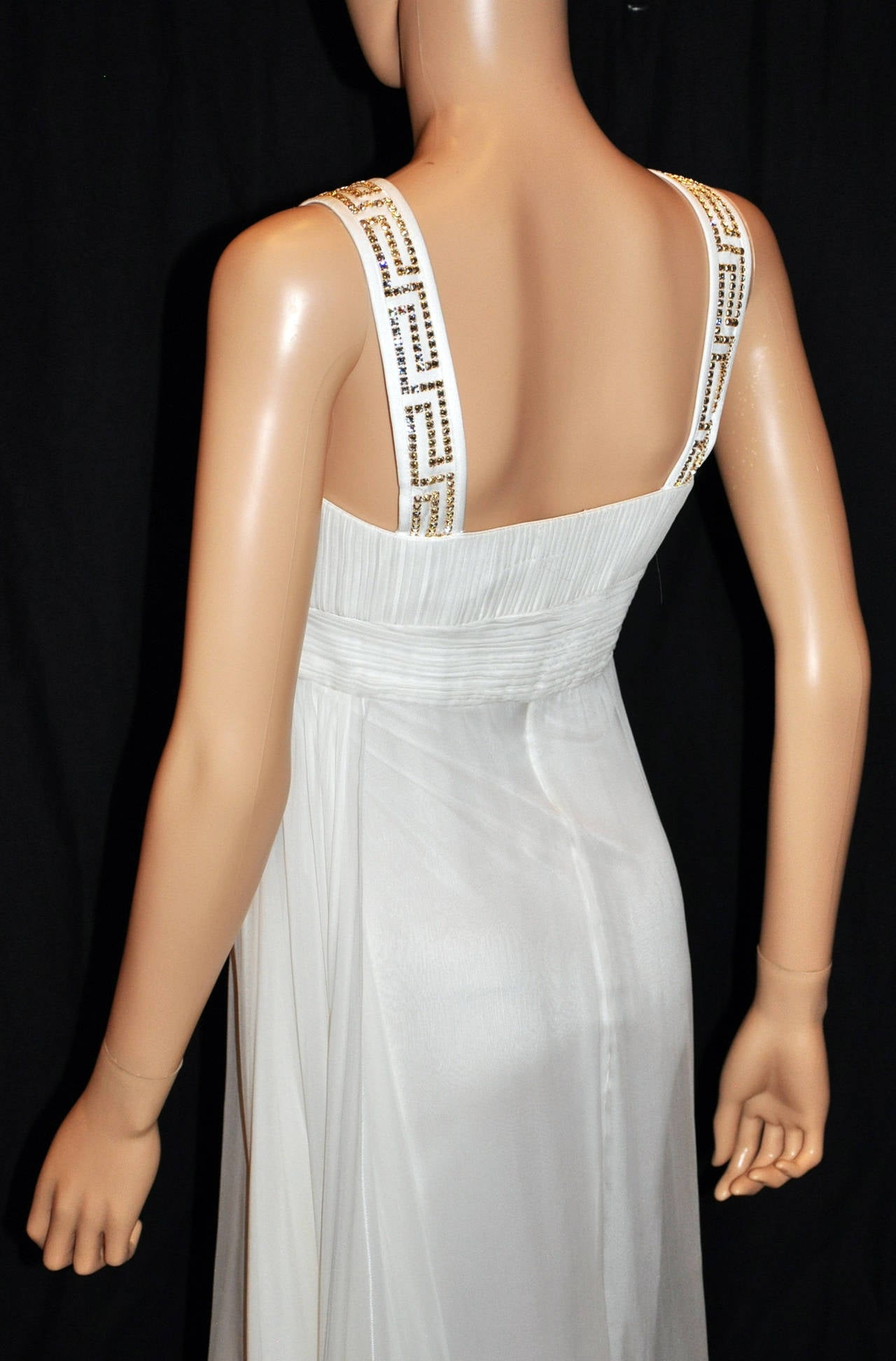 New Versace Crystal Embellished White Silk Gown 7