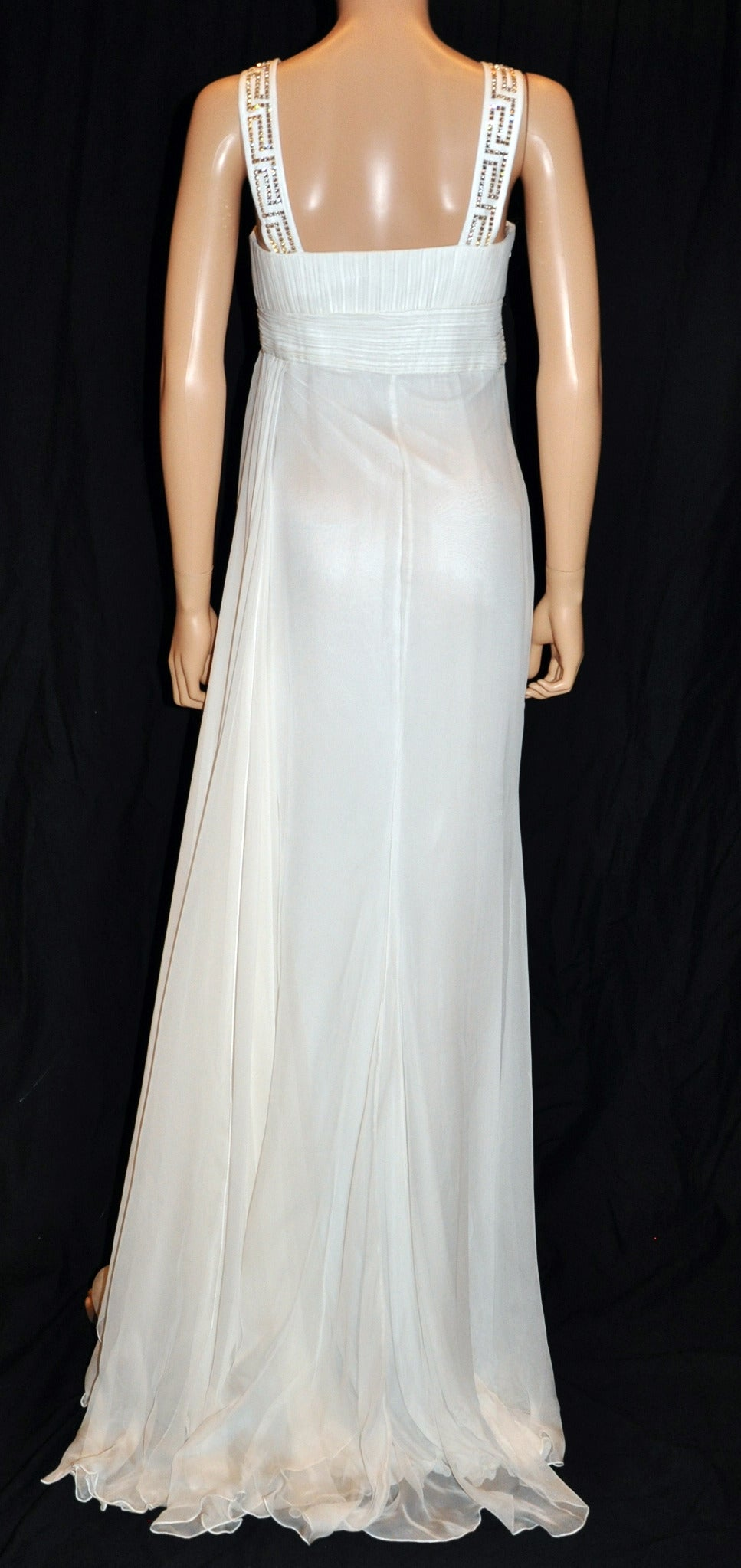 New Versace Crystal Embellished White Silk Gown 8