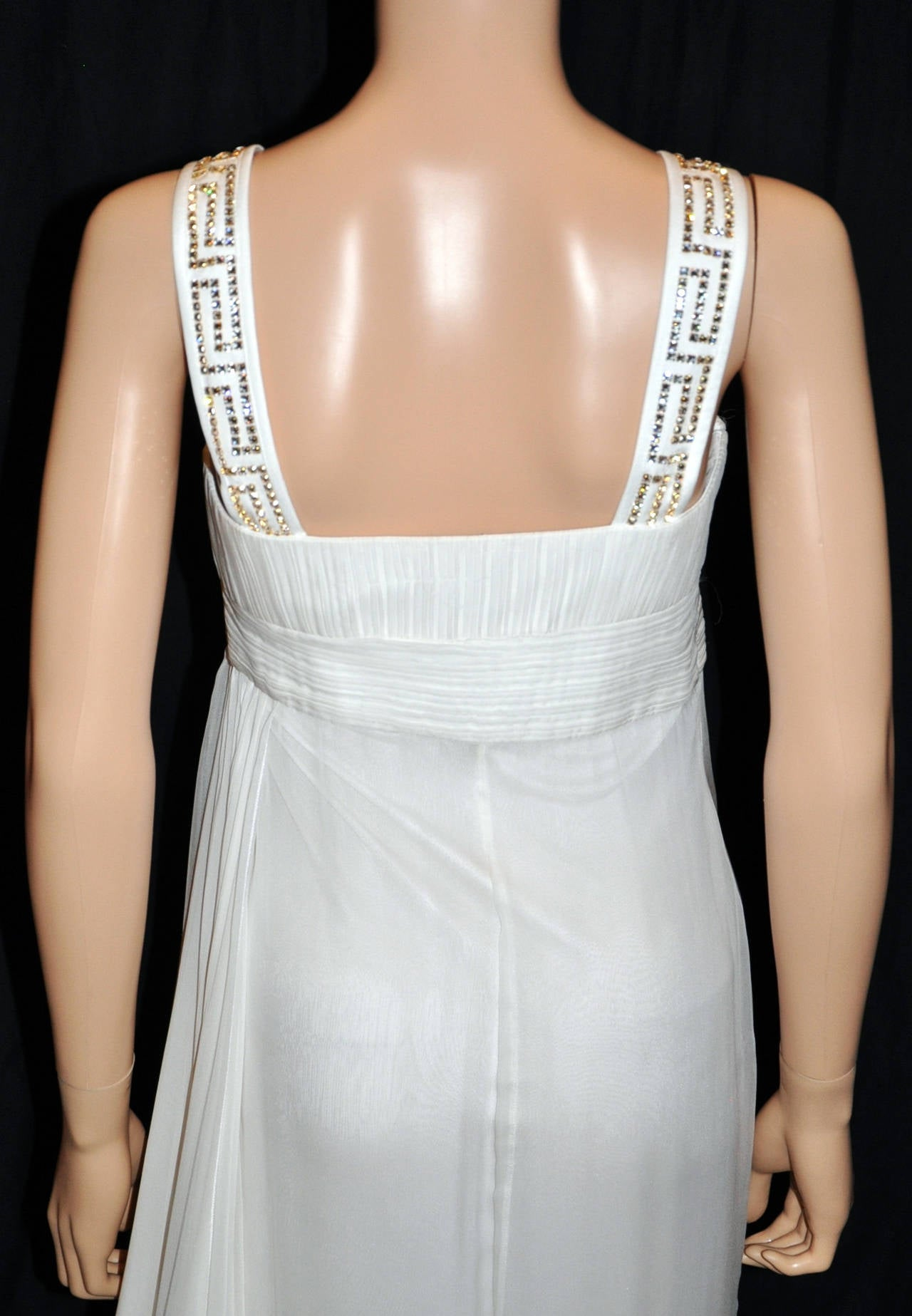 New Versace Crystal Embellished White Silk Gown 9