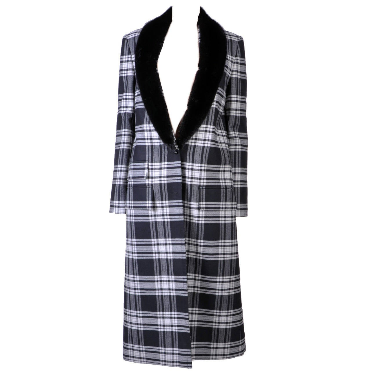 New VERSACE Wool Tartan Plaid Coat With Mink Fur