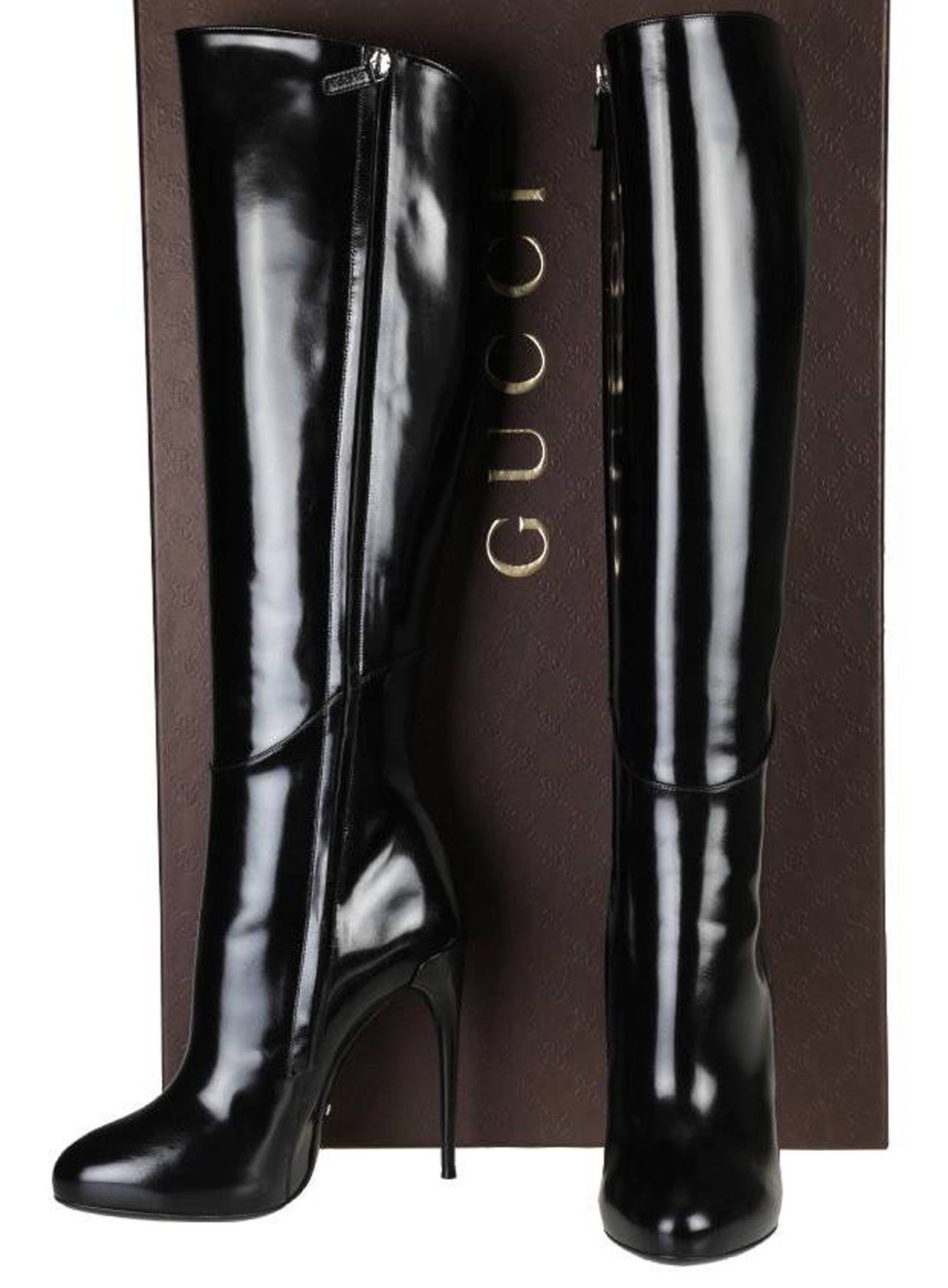 a13bc7cf01e Black New GUCCI KIM PLATFORM KNEE-HIGH STILETTO HEEL BLACK BOOTS For Sale