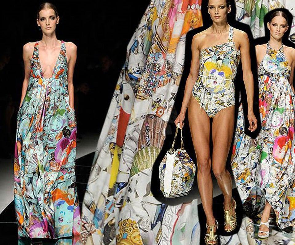 New VERSACE Julie Verhoeven Print Silk Dress 2