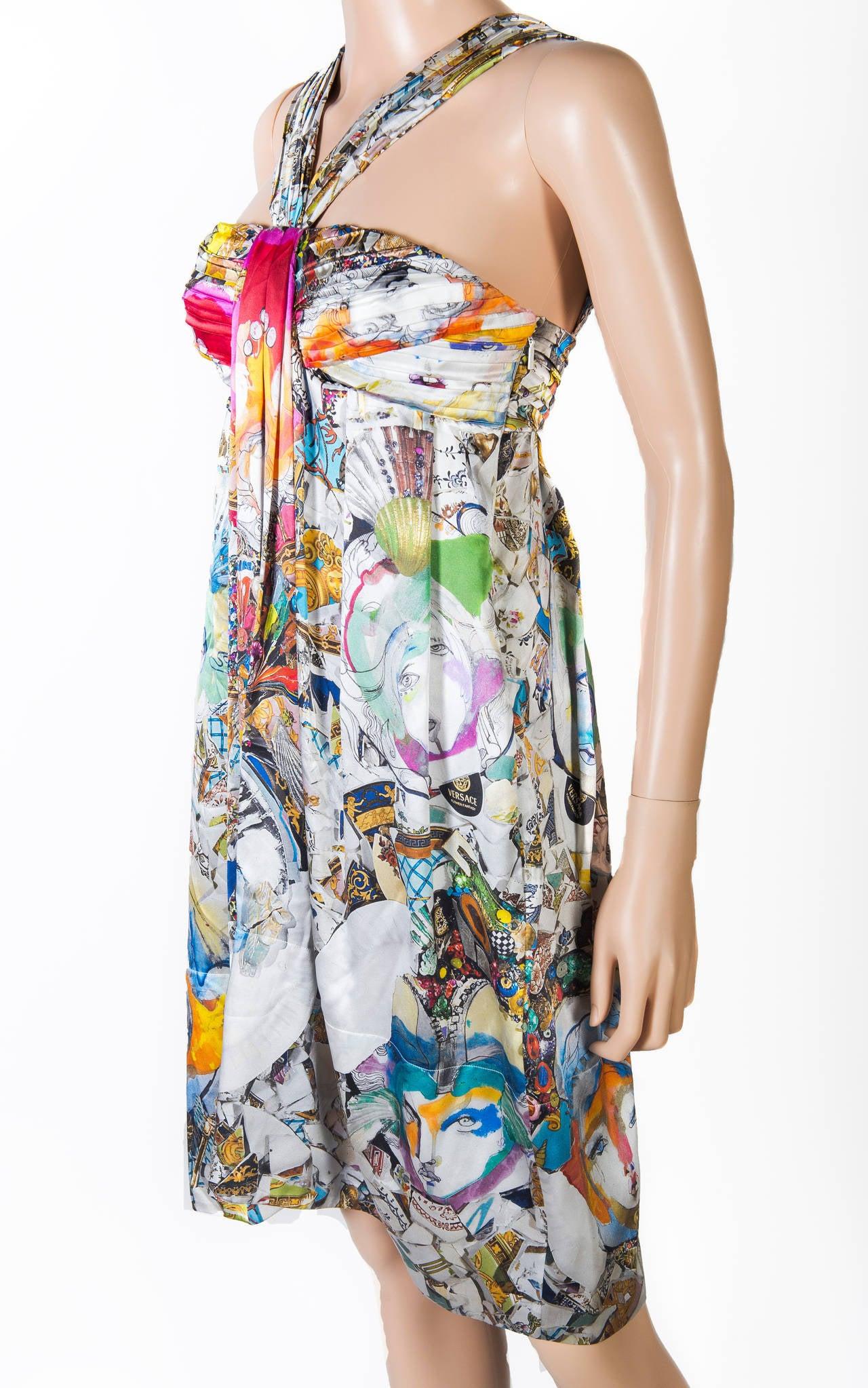 New VERSACE Julie Verhoeven Print Silk Dress 3
