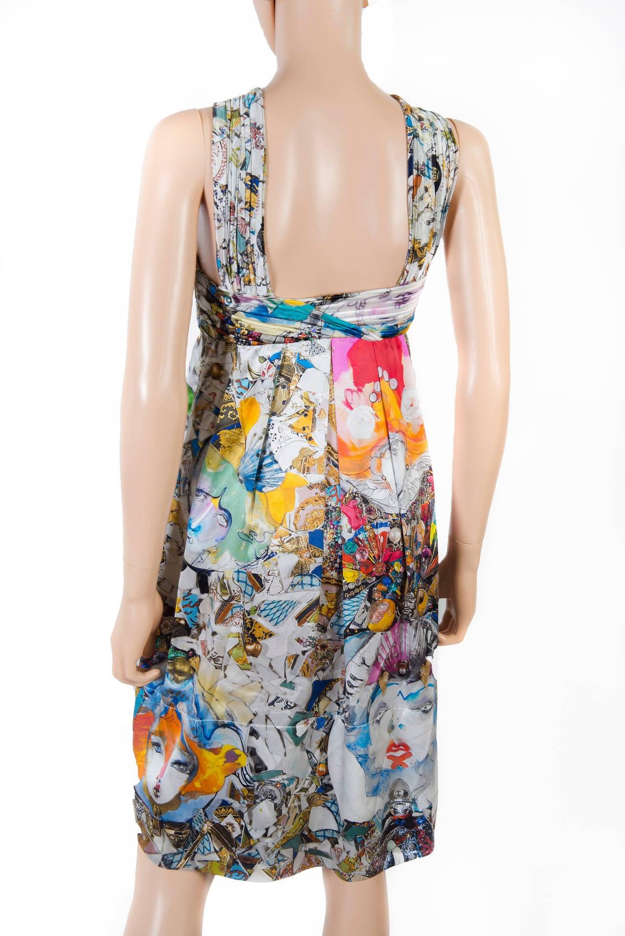 New VERSACE Julie Verhoeven Print Silk Dress 5
