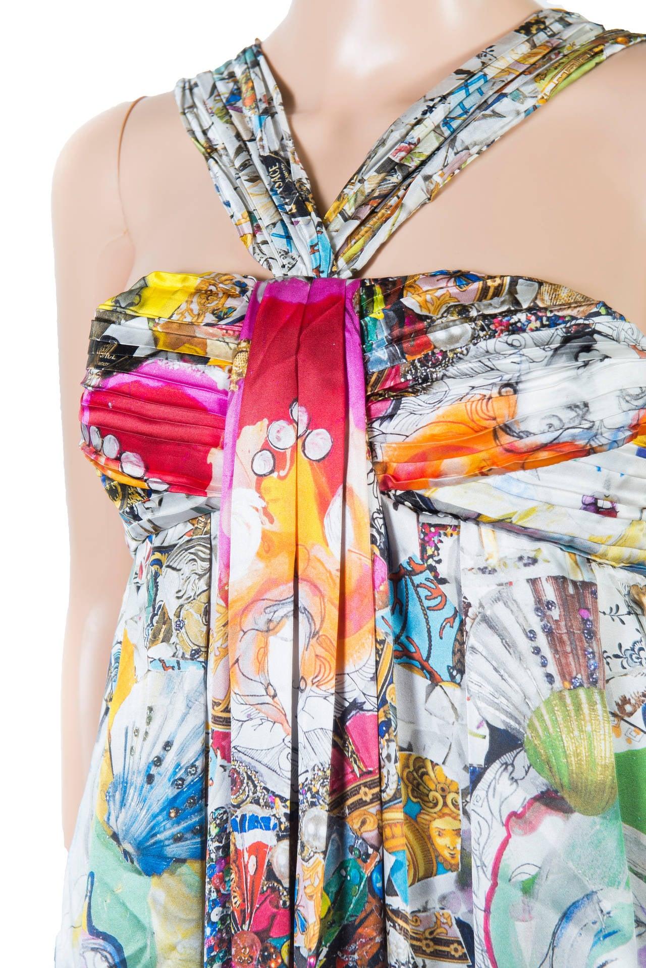 New VERSACE Julie Verhoeven Print Silk Dress 6