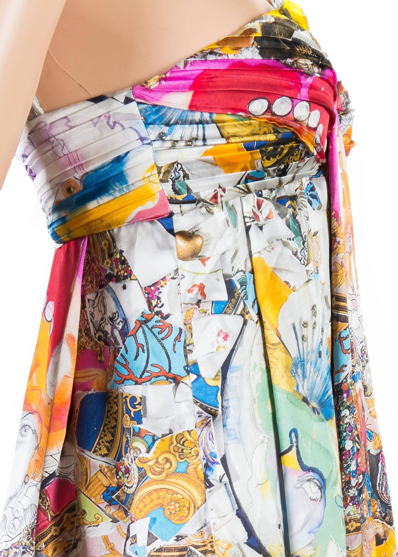 New VERSACE Julie Verhoeven Print Silk Dress 8