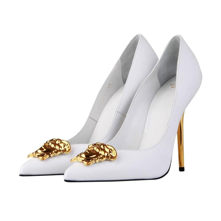 Versace Palazzo White Leather Pump For Sale