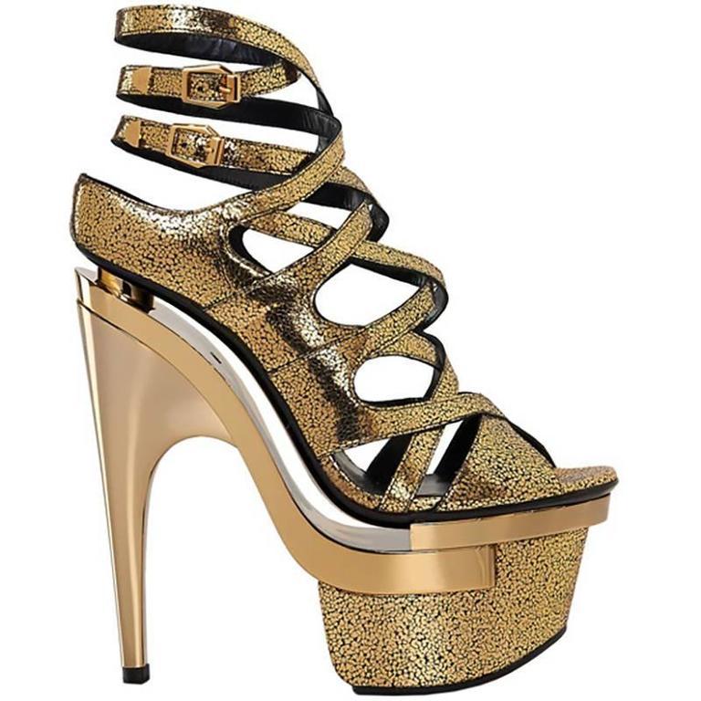 VERSACE Gold Leather Triple Platform Sandals