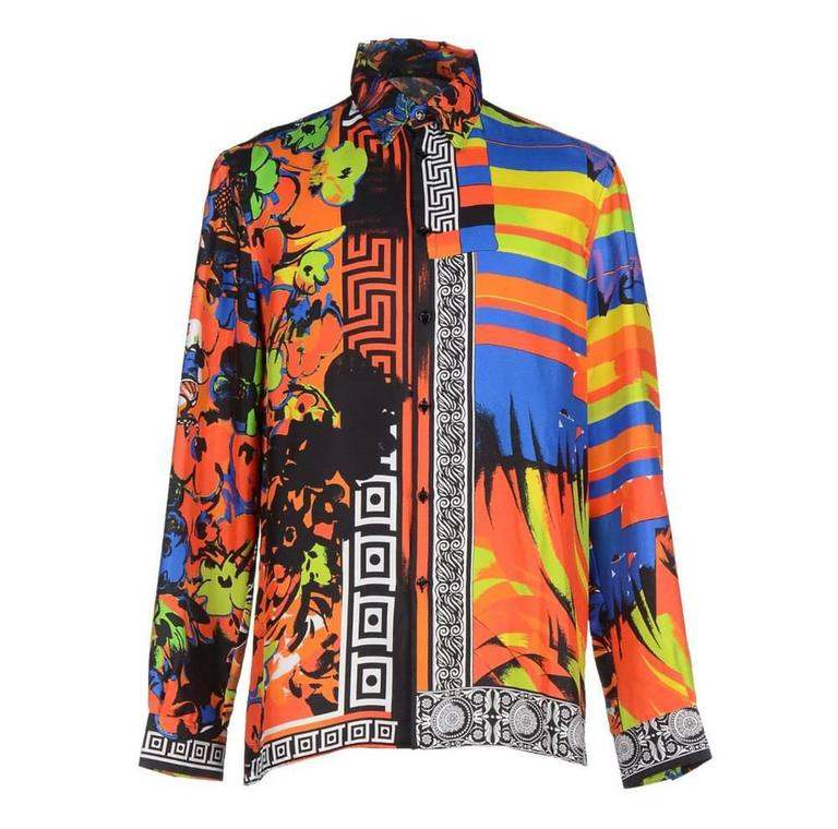 fe7c2e95 VERSACE PRINTED 100% SILK SHIRT as seen on BRUNO MARS at 1stdibs