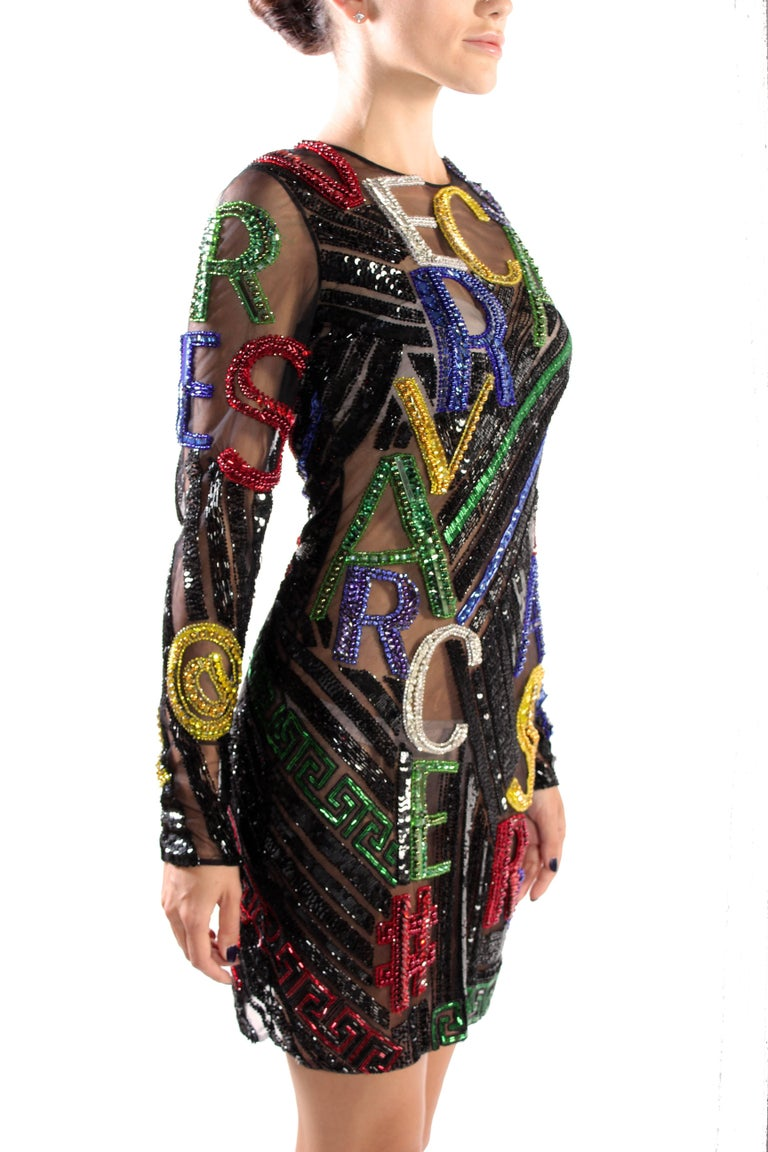 New VERSACE EMBELLISHED TULLE MINI DRESS  In New Condition For Sale In Montgomery, TX