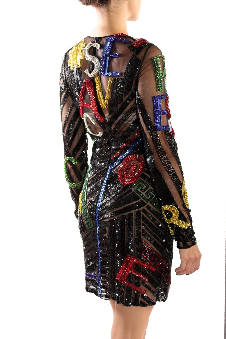 Women's New VERSACE EMBELLISHED TULLE MINI DRESS  For Sale