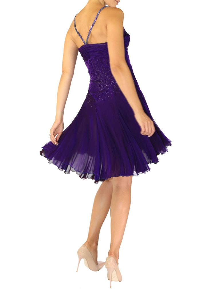 Women's VINTAGE VERSACE CRYSTAL EMBELLISHED AMETHYST SILK DRESS with CHAIN MAIL STRAPS For Sale