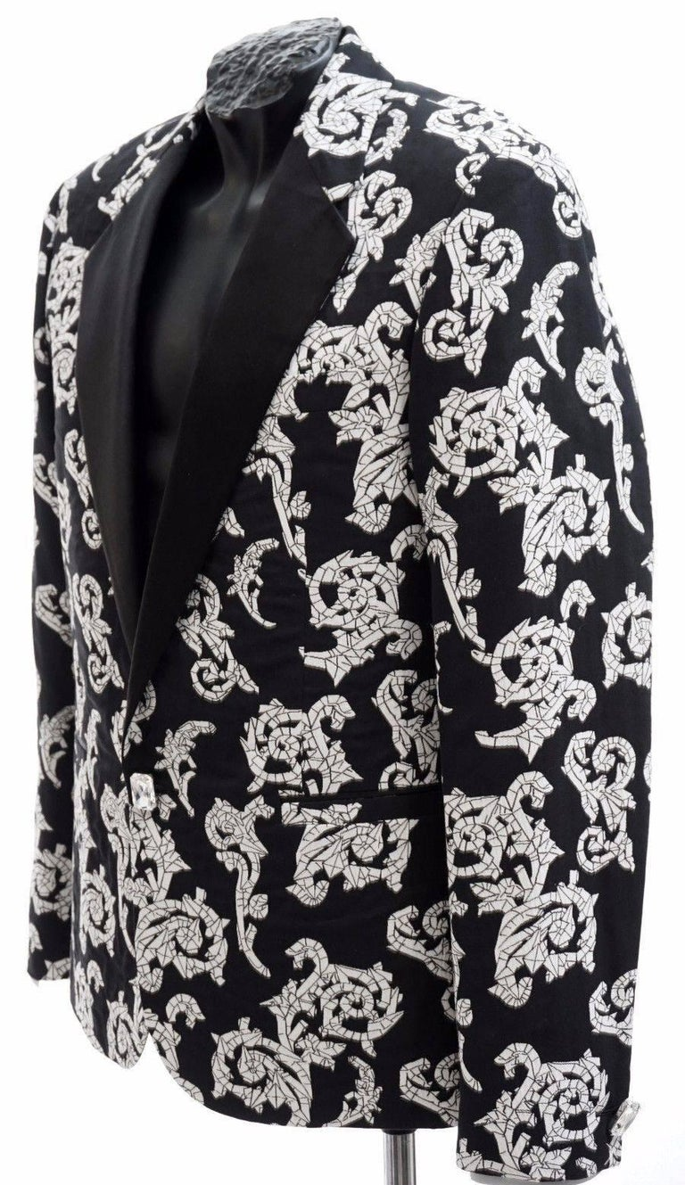 Black VERSACE TAILOR MADE TUXEDO BLAZER JACKET with CRYSTAL BUTTONS for MEN For Sale