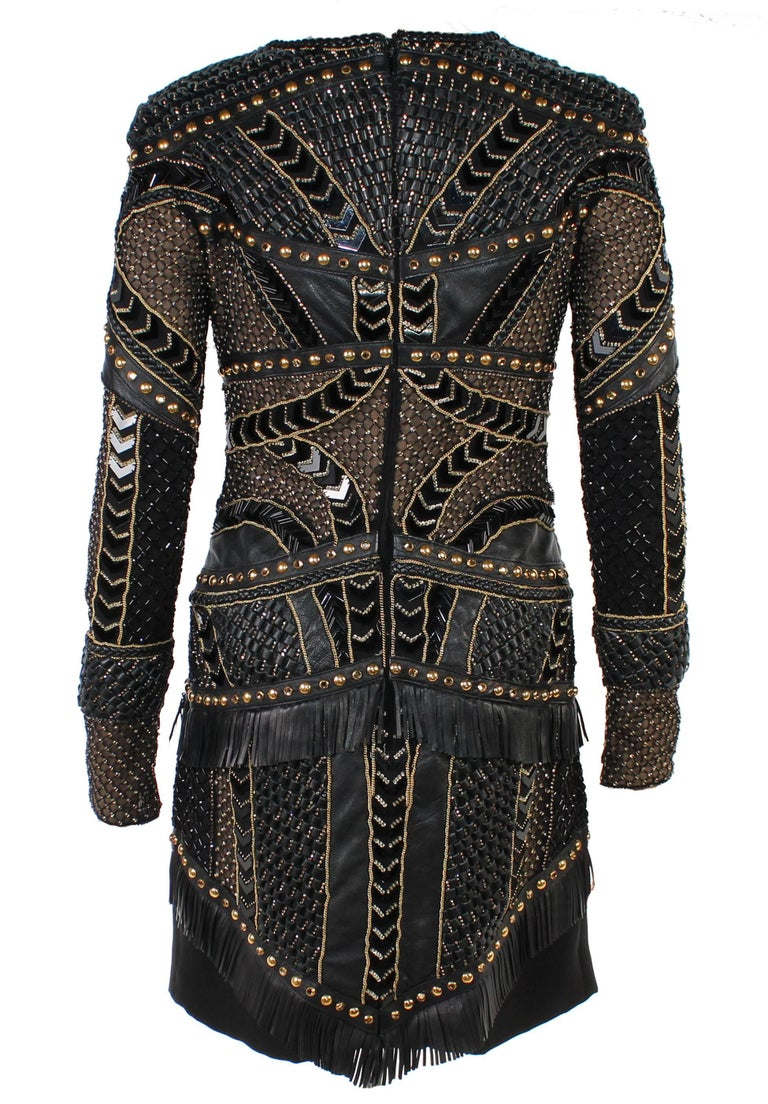 New Versace Crystal and Stud Embellished Leather Dress w/ Fringe For Sale 1