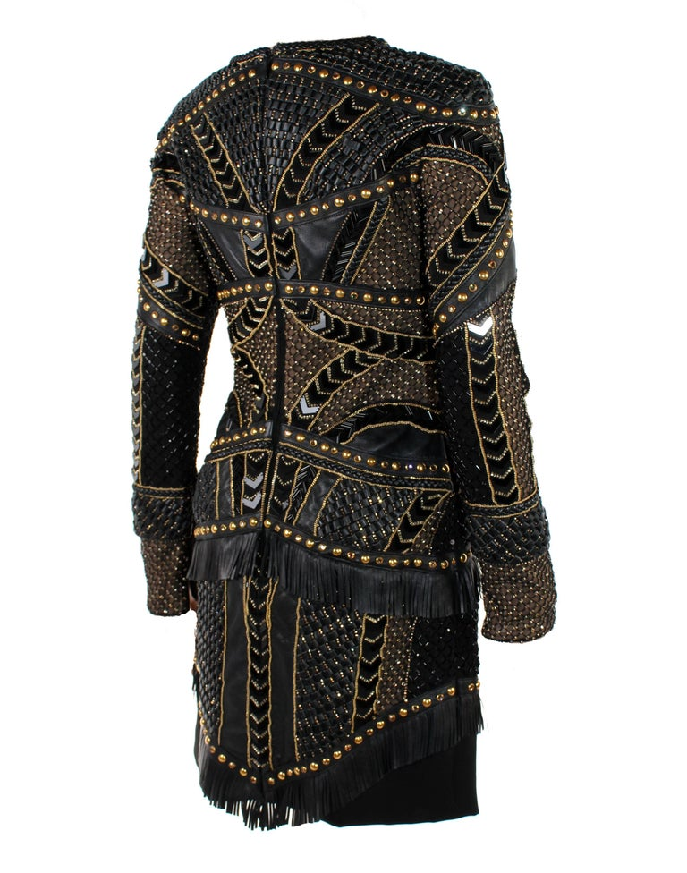 Women's New Versace Crystal and Stud Embellished Leather Dress w/ Fringe For Sale