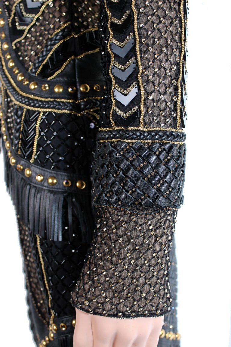 New Versace Crystal and Stud Embellished Leather Dress w/ Fringe For Sale 2