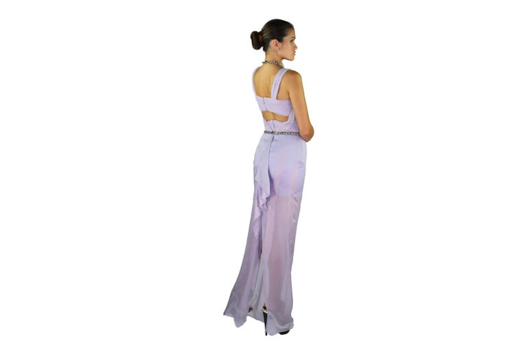 New VERSACE Lilac Chiffon Long Dress with Medusa Chains 4