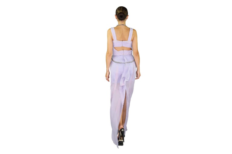 New VERSACE Lilac Chiffon Long Dress with Medusa Chains 7